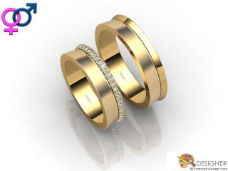 His and Hers Matching Set 18ct. Yellow Gold Court Wedding Ring-D20907-1803-050P