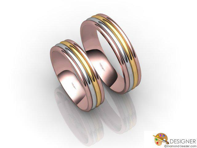 His and Hers Matching Set 18ct. Yellow Rose and White Gold Court Wedding Ring