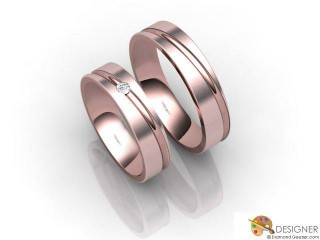 His and Hers Matching Set 18ct. Rose Gold Court Wedding Ring-D21416-0403-001P