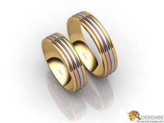 His and Hers Matching Set 18ct. Yellow Rose and White Gold Court Wedding Ring-D21498-3301-000P