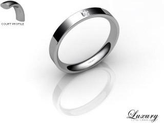 Women's Single Diamond Palladium 3mm. Flat-Court Wedding Ring-PAL1XPD-3FCHL