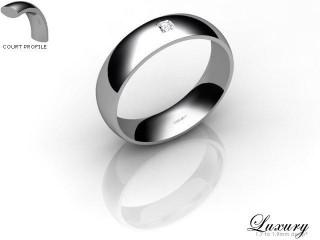 Women's Single Diamond Palladium 5mm. Court Wedding Ring-PAL1XPD-5CHL