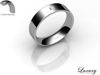 Women's Single Diamond Palladium 5mm. Flat-Court Wedding Ring-PAL1XPD-5FCHL