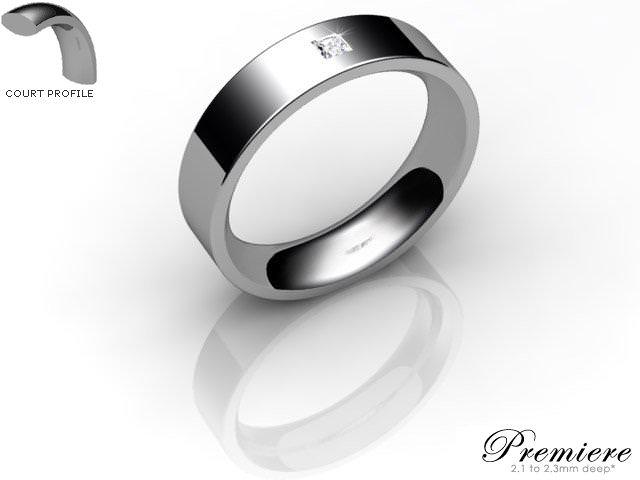 Men's Single Diamond Palladium 5mm. Flat-Court Wedding Ring