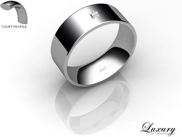 Men's Single Diamond Palladium 7mm. Flat-Court Wedding Ring