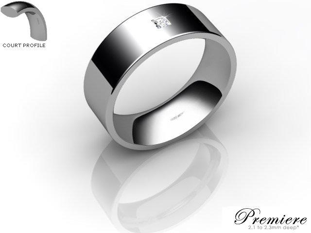 Men's Single Diamond Palladium 7mm. Flat-Court Wedding Ring