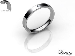 Women's Single Diamond Palladium 3mm. Flat-Court Wedding Ring-PAL1XRD-3FCHL