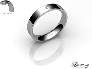 Women's Single Diamond Palladium 4mm. Flat-Court Wedding Ring-PAL1XRD-4FCHL