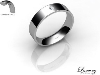 Women's Single Diamond Palladium 5mm. Flat-Court Wedding Ring-PAL1XRD-5FCHL