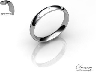 Women's Diamond Scatter Palladium 3mm. Court Wedding Ring-PAL25D-3CHL