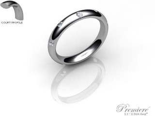 Men's Diamond Scatter Palladium 3mm. Court Wedding Ring-PAL25D-3CXG