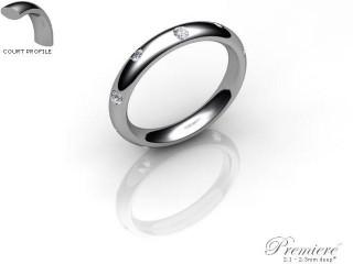 Women's Diamond Scatter Palladium 3mm. Court Wedding Ring-PAL25D-3CXL