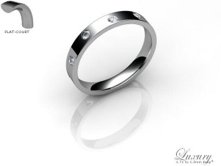 Men's Diamond Scatter Palladium 3mm. Flat-Court Wedding Ring-PAL25D-3FCHG