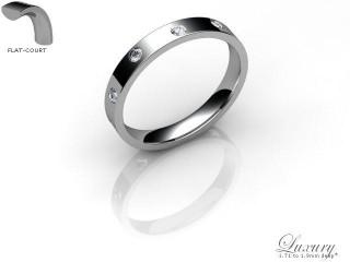 Women's Diamond Scatter Palladium 3mm. Flat-Court Wedding Ring-PAL25D-3FCHL
