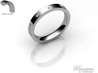 Women's Diamond Scatter Palladium 3mm. Flat-Court Wedding Ring-PAL25D-3FCXL
