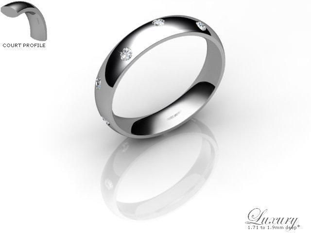 Men's Diamond Scatter Palladium 4mm. Court Wedding Ring