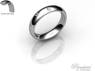 Women's Diamond Scatter Palladium 4mm. Court Wedding Ring-PAL25D-4CXL