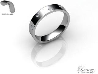 Men's Diamond Scatter Palladium 4mm. Flat-Court Wedding Ring-PAL25D-4FCHG