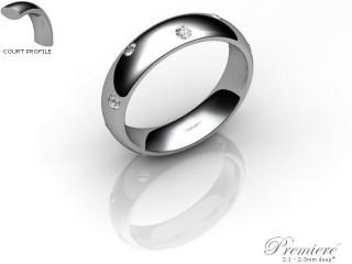 Women's Diamond Scatter Palladium 5mm. Court Wedding Ring-PAL25D-5CXL