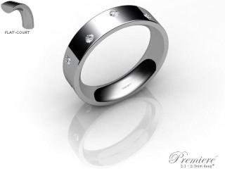 Women's Diamond Scatter Palladium 5mm. Flat-Court Wedding Ring-PAL25D-5FCXL