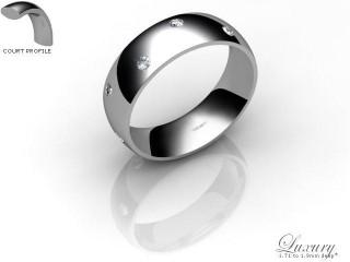 Men's Diamond Scatter Palladium 6mm. Court Wedding Ring-PAL25D-6CHG