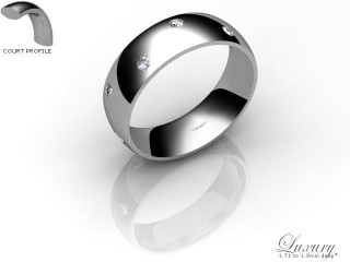 Women's Diamond Scatter Palladium 6mm. Court Wedding Ring-PAL25D-6CHL