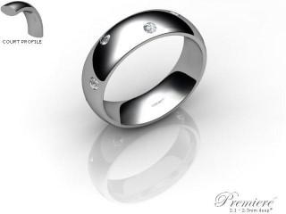 Women's Diamond Scatter Palladium 6mm. Court Wedding Ring-PAL25D-6CXL