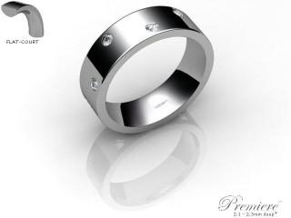 Men's Diamond Scatter Palladium 6mm. Flat-Court Wedding Ring-PAL25D-6FCXG