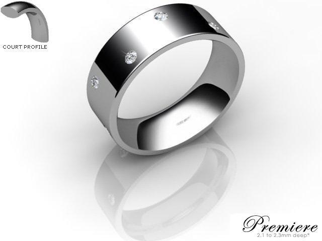 Men's Diamond Scatter Palladium 7mm. Flat-Court Wedding Ring
