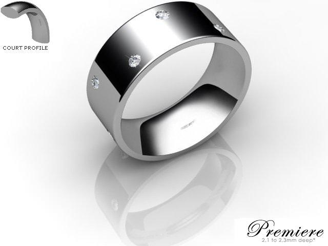 Men's Diamond Scatter Palladium 8mm. Flat-Court Wedding Ring