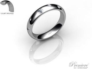 Men's Diamond Scatter Palladium 4mm. Court Wedding Ring-PAL25R-4CXG