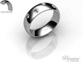 Men's Diamond Scatter Palladium 6mm. Court Wedding Ring-PAL25R-6CXG