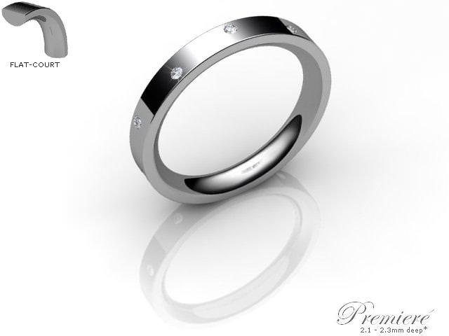 Women's Diamond Scatter Platinum 3mm. Flat-Court Wedding Ring