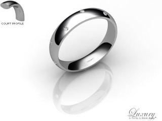 Women's Diamond Scatter Platinum 4mm. Court Wedding Ring-PLAT10D-4CHL