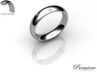 Women's Diamond Scatter Platinum 4mm. Court Wedding Ring-PLAT10D-4CXL