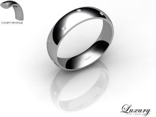 Women's Diamond Scatter Platinum 5mm. Court Wedding Ring-PLAT10D-5CHL