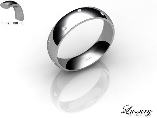 Women's Diamond Scatter Platinum 5mm. Court Wedding Ring