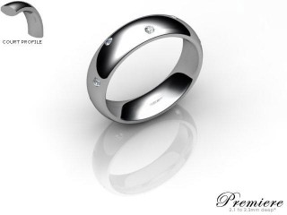 Men's Diamond Scatter Platinum 5mm. Court Wedding Ring-PLAT10D-5CXG