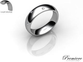 Women's Diamond Scatter Platinum 5mm. Court Wedding Ring-PLAT10D-5CXL