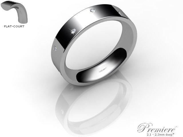 Men's Diamond Scatter Platinum 5mm. Flat-Court Wedding Ring