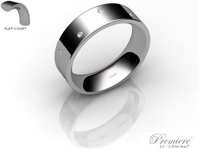 Men's Diamond Scatter Platinum 6mm. Flat-Court Wedding Ring