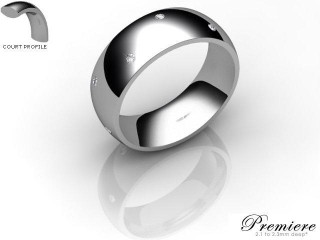Men's Diamond Scatter Platinum 7mm. Court Wedding Ring-PLAT10D-7CXG