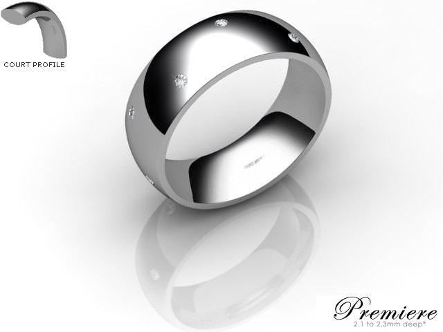 Men's Diamond Scatter Platinum 7mm. Court Wedding Ring