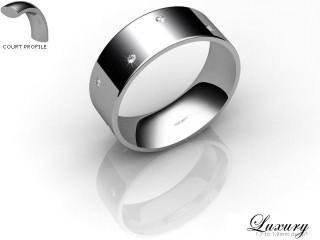 Men's Diamond Scatter Platinum 7mm. Flat-Court Wedding Ring-PLAT10D-7FCHG