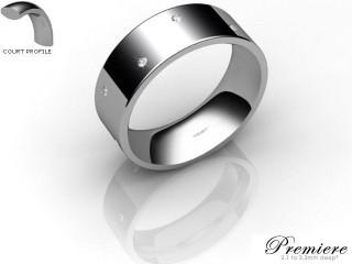 Men's Diamond Scatter Platinum 7mm. Flat-Court Wedding Ring-PLAT10D-7FCXG