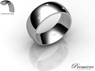 Men's Diamond Scatter Platinum 8mm. Court Wedding Ring-PLAT10D-8CXG