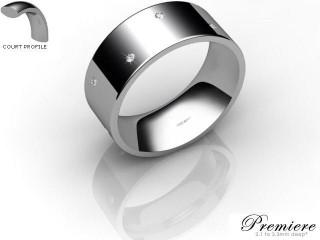 Men's Diamond Scatter Platinum 8mm. Flat-Court Wedding Ring-PLAT10D-8FCXG