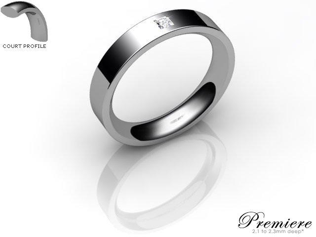 Men's Single Diamond Platinum 4mm. Flat-Court Wedding Ring
