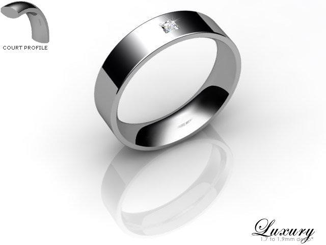 Women's Single Diamond Platinum 5mm. Flat-Court Wedding Ring