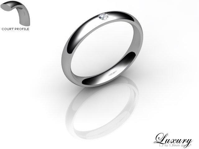 Women's Single Diamond Platinum 3mm. Court Wedding Ring